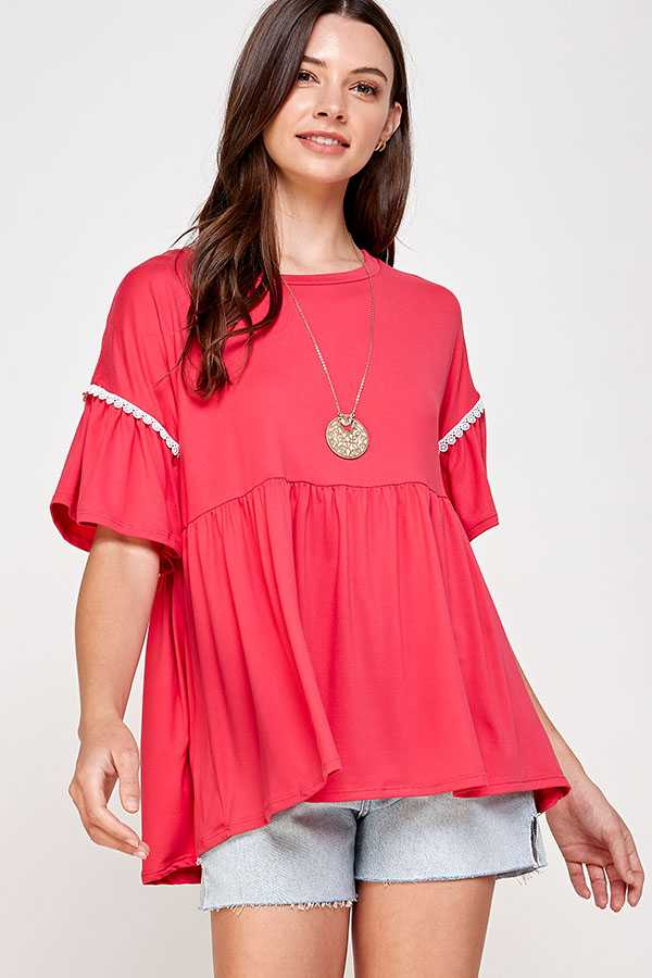 PLUS SIZE-SOLID DETAIL RUFFLE TUNIC TOP
