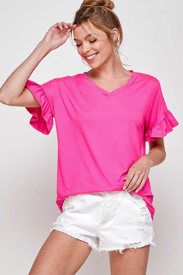SOLID V NECK RUFFLE SLEEVE TOP