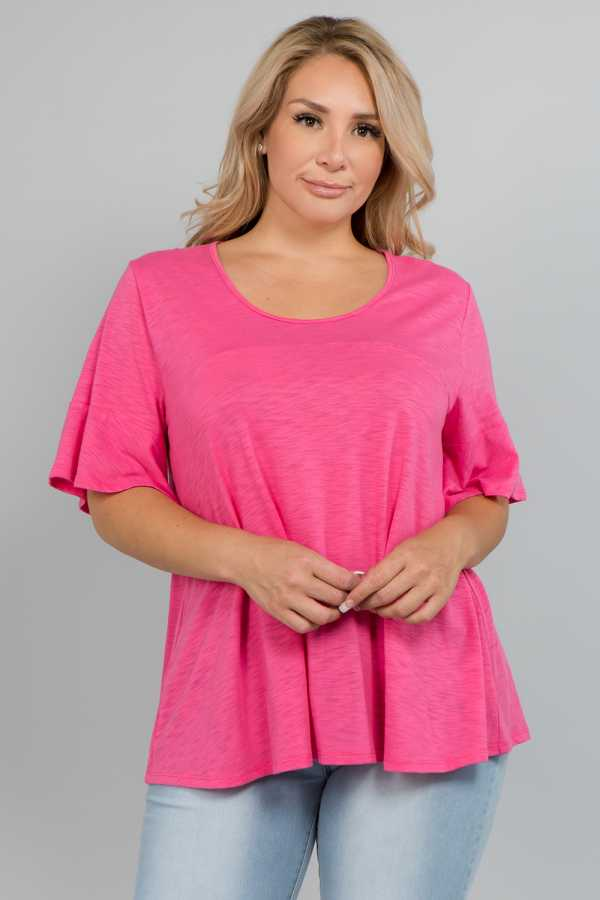 PLUS SIZE RUFFLE SLEEVE SOLID KNIT TOP
