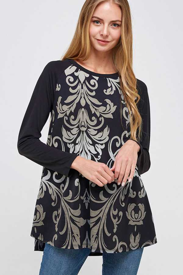 PLUS SIZE DAMASK PRINT CONTRAST LONG SLEEVE TOP