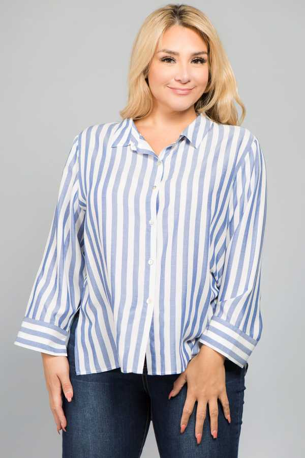 PLUS SIZE STRIPED BUTTON UP SHIRT