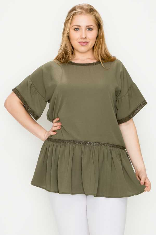 PLUS SIZE BABYDOLL TUNIC TOP