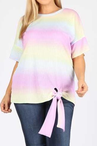 EXTRA PLUS SIZE STRIPE PRINT KNOTTED HEM TUNIC TOP