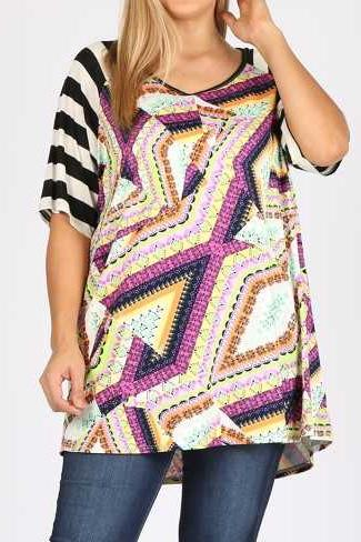 EXTRA PLUS SIZE MULTI PRINT STRIPE CONTRAST TUNIC TOP