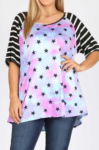 EXTRA PLUS SIZE TIE DYE STAR  PRINT STRIPE CONTRAST TUNIC TOP
