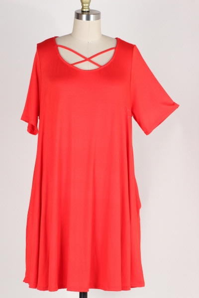 PLUS SIZE-CRISS CROSS SOLID DRESS W POCKETS