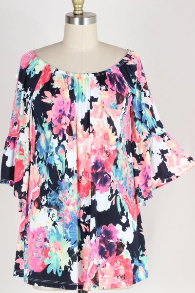 PLUS SIZE-BELL SLEEVE FLORAL PRINT TUNIC TOP