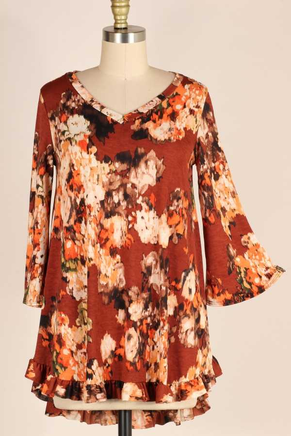 PLUS SIZE-RUFFLE DETAIL FLORAL TUNIC TOP