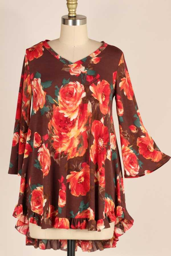 PLUS SIZE-RUFFLE HEM FLORAL TUNIC TOP