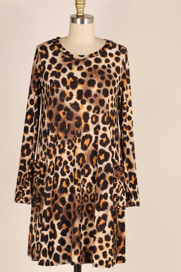 PLUS SIZE-SIDE POCKETS DETAIL LEOPARD DRESS
