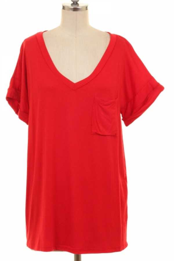 LOOSE FIT POCKET DETAIL SOLID TUNIC TOP