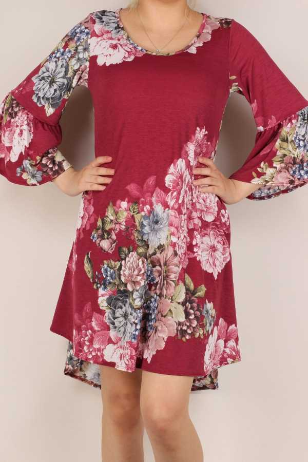 PLUS SIZE-FLORAL PRINT RUFFLE SLEEVE DRESS W POCKETS
