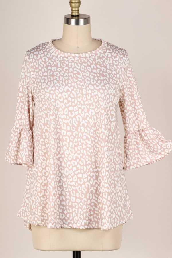 RUFFLE SLEEVE LEOPARD TUNIC TOP