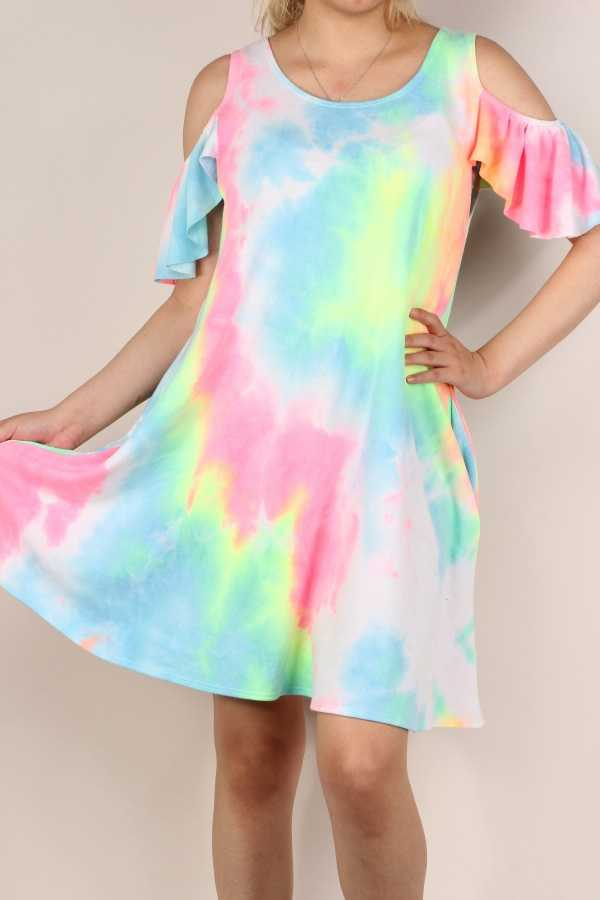 PLUS SIZE-TIE DYE PRINT CUTOUT SHOULDER DRESS W POCKETS