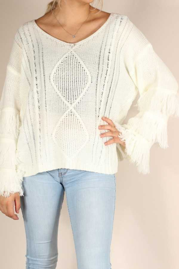 FRINGE DETAIL SLEEVE CABLE KNIT TUNIC TOP