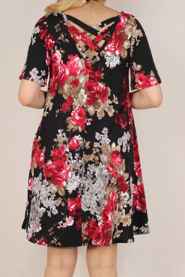 PLUS SIZE-FLORAL PRINT KNIT CROSS STRAP BACK DETAIL DRESS
