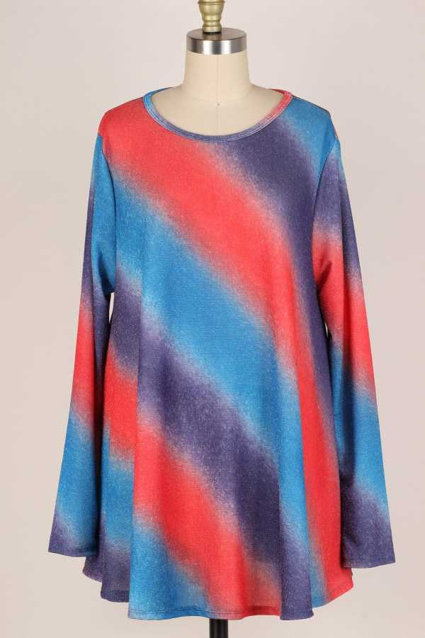 EXTRA PLUS SIZE-TIE DYE PRINT LONG SLEEVE TUNIC TOP