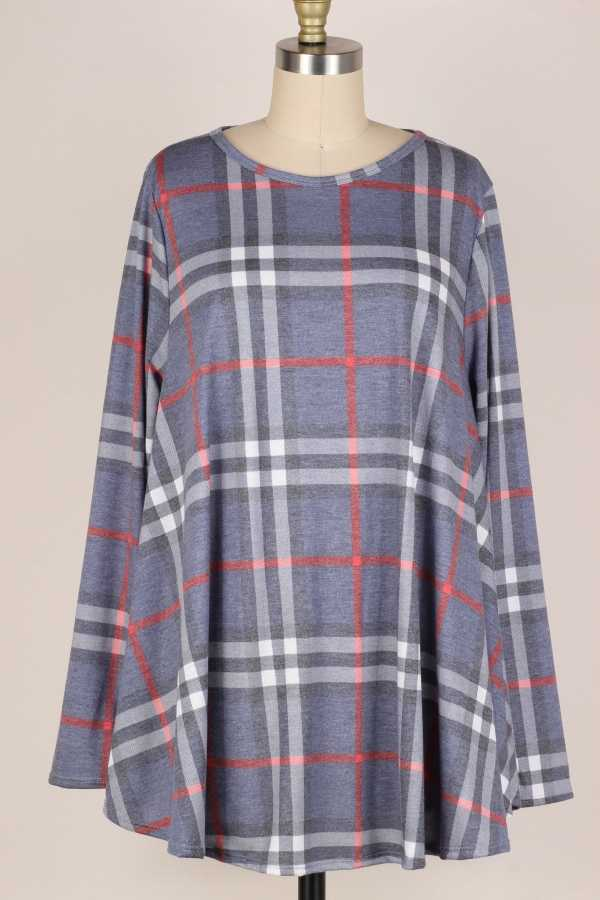PLUS SIZE-PLAID PRINT LONG SLEEVE TUNIC TOP
