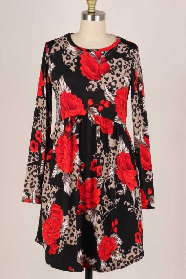 PLUS SIZE-SIDE POCKETS DETAIL LEOPARD FLORAL PRINT DRESS