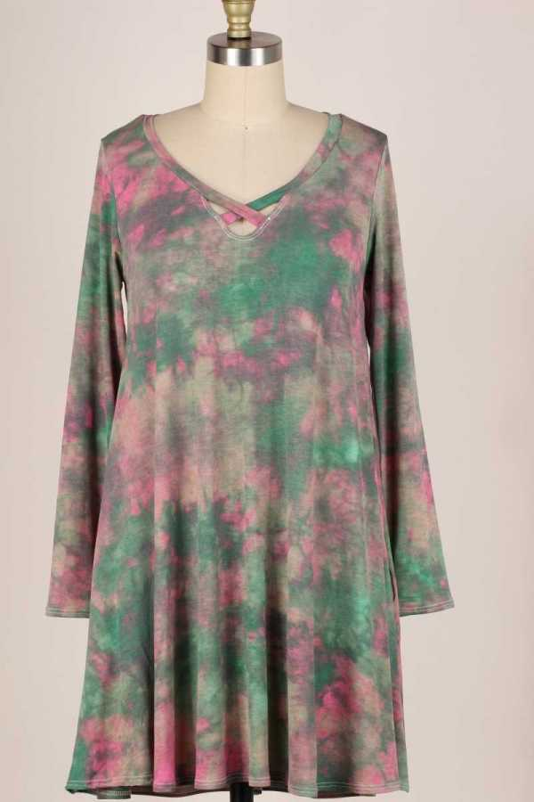 PLUS SIZE-CRISS CROSS DETAIL TIE DYE PRINT DRESS W POCKETS