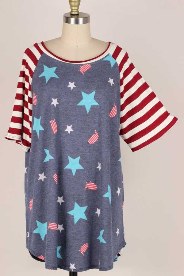 PLUS SIZE-STAR STRIPE PRINT TOP