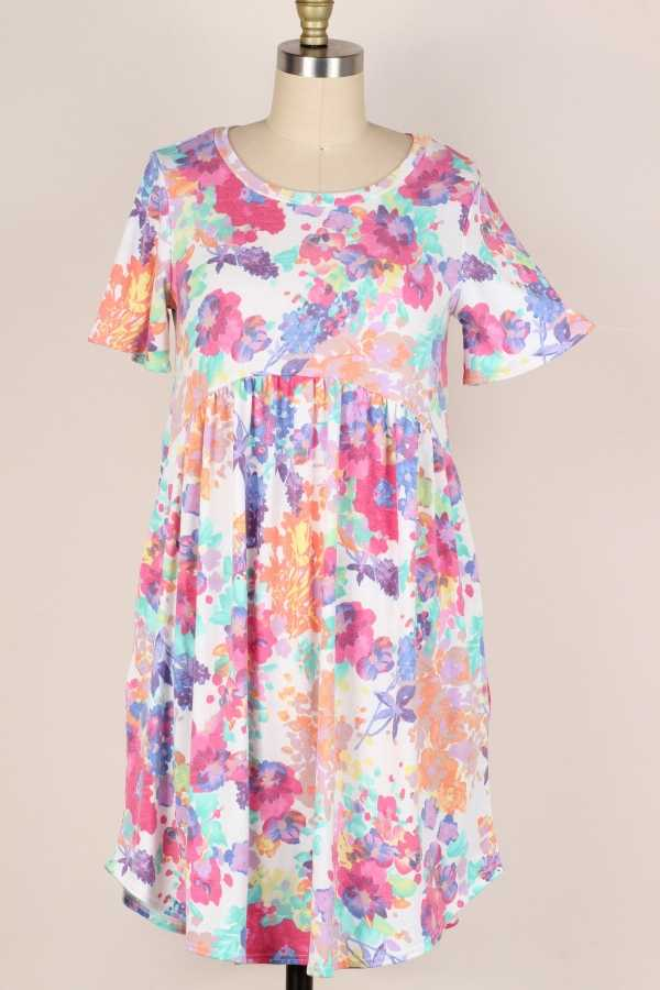 PLUS SIZE-FLORAL PRINT RUFFLE DRESS W POCKETS