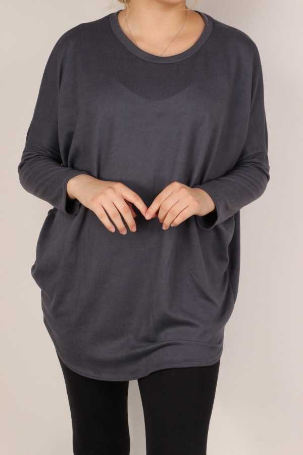PLUS SIZE-LONG SLEEVE ROUND NECK TUNIC TOP