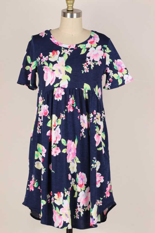 FLORAL PRINT RUFFLE DRESS W POCKETS
