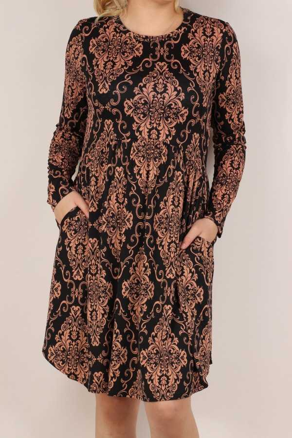 PLUS SIZE-DAMASK PRINT LONG SLEEVE DRESS W POCKETS