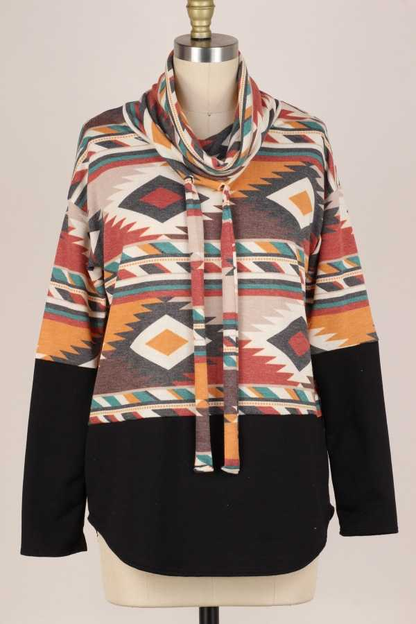 PLUS SIZE-AZTEC PRINT TURTLE NECK LONG SLEEVE TUNIC TOP