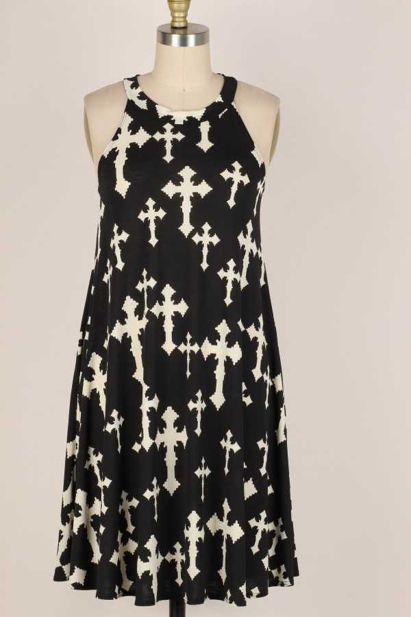 PLUS SIZE-CROSS PRINT DRESS W POCKETS