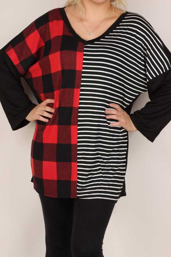 PLUS SIZE-PLAID STRIPE CONTRAST TUNIC TOP