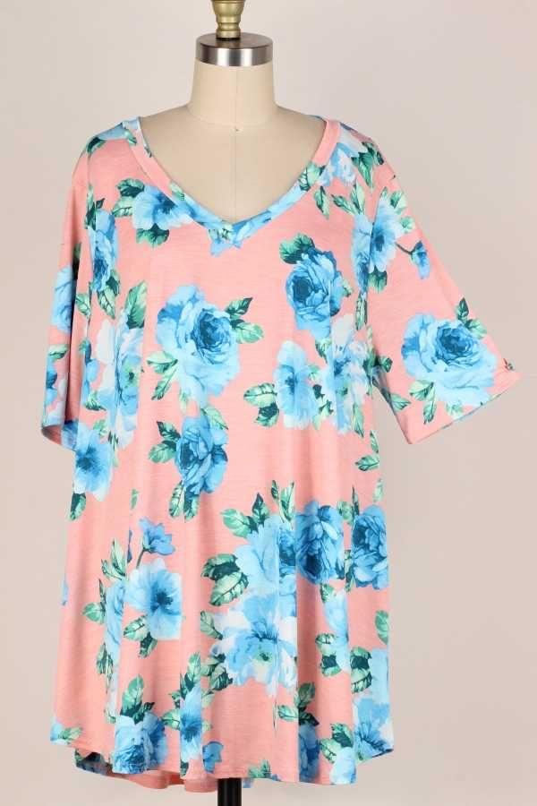 EXTRA PLUS SIZE-V NECK FLORAL PRINT TUNIC TOP