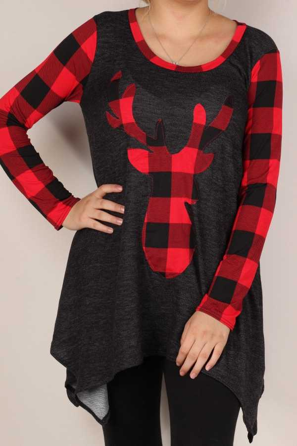 PLAID PRINT SLEEVE DETAIL TUNIC TOP