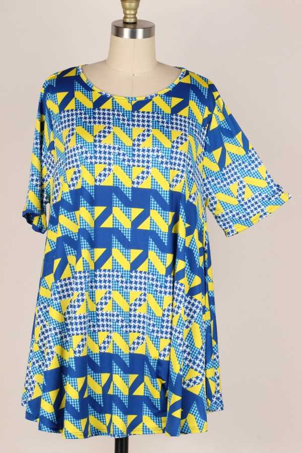 PLUS SIZE-MIX PRINT TUNIC TOP