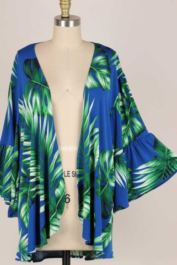 PLUS SIZE-PALM PRINT DETAIL OPEN CARDIGAN