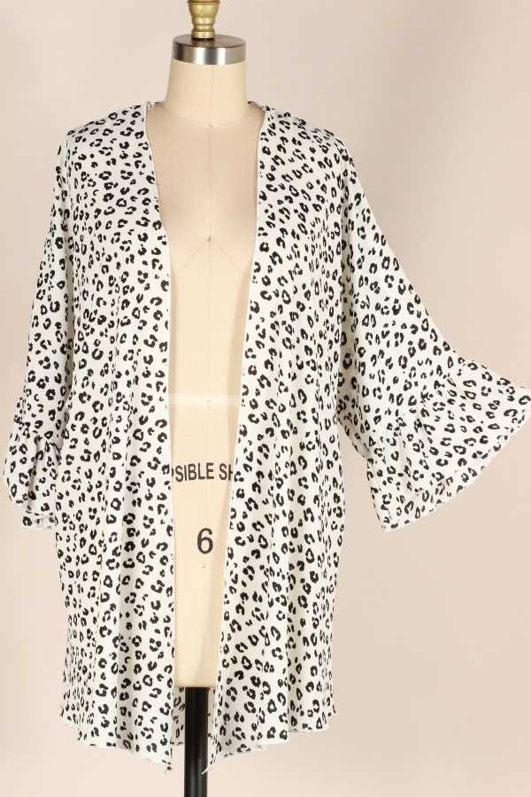 ANIMAL PRINT RUFFLE DETAILED CARDIGAN