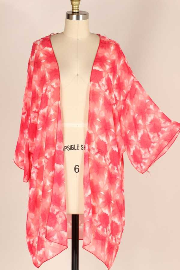 EXTRA PLUS-WIDE SLEEVE TIE DYE PRINT WOVEN CARDICAN