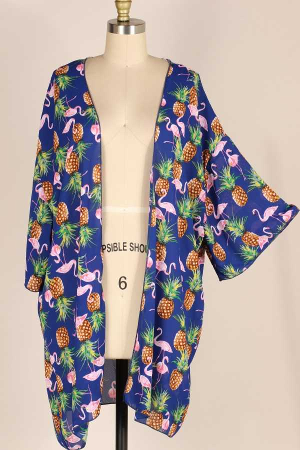 EXTRA PLUS-WIDE SLEEVE PRINT WOVEN CARDIGAN