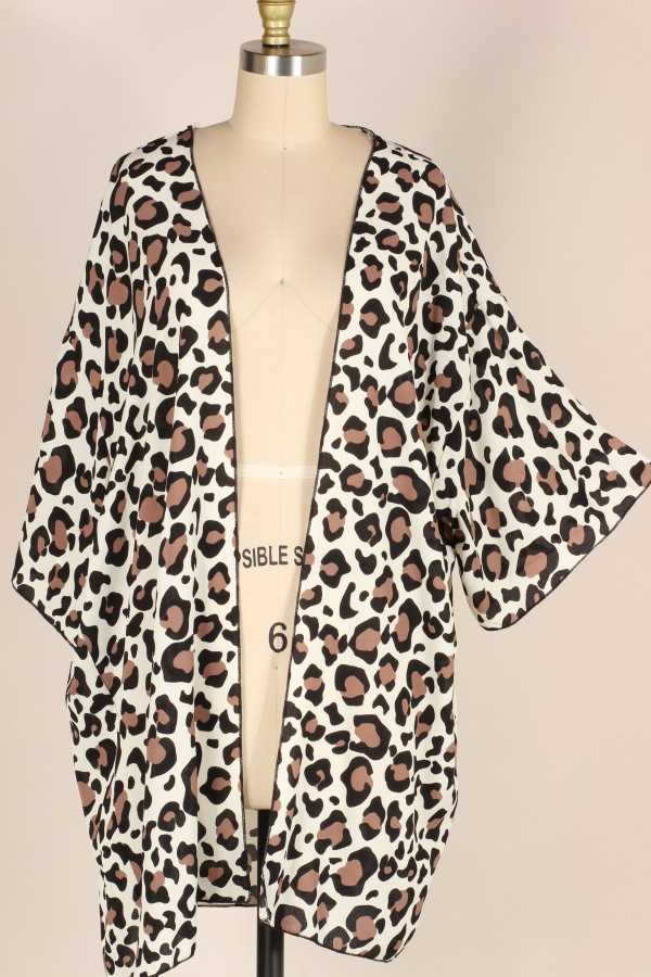 EXTRA PLUS-WIDE SLEEVE LEOPARD WOVEN CARDIGAN