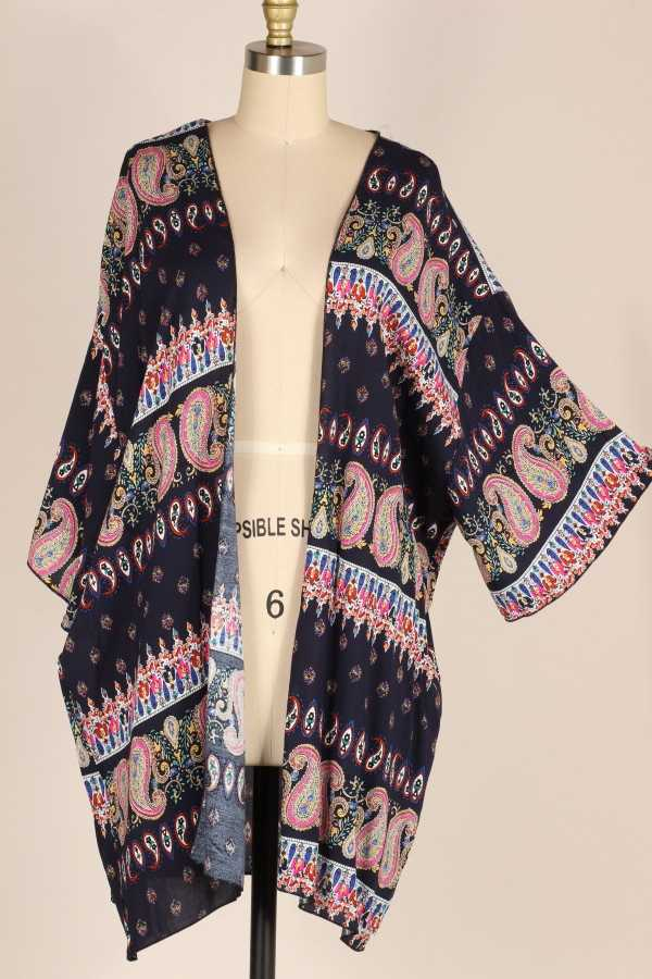 EXTRA PLUS-WIDE SLEEVE PAISLEY WOVEN CARDIGAN