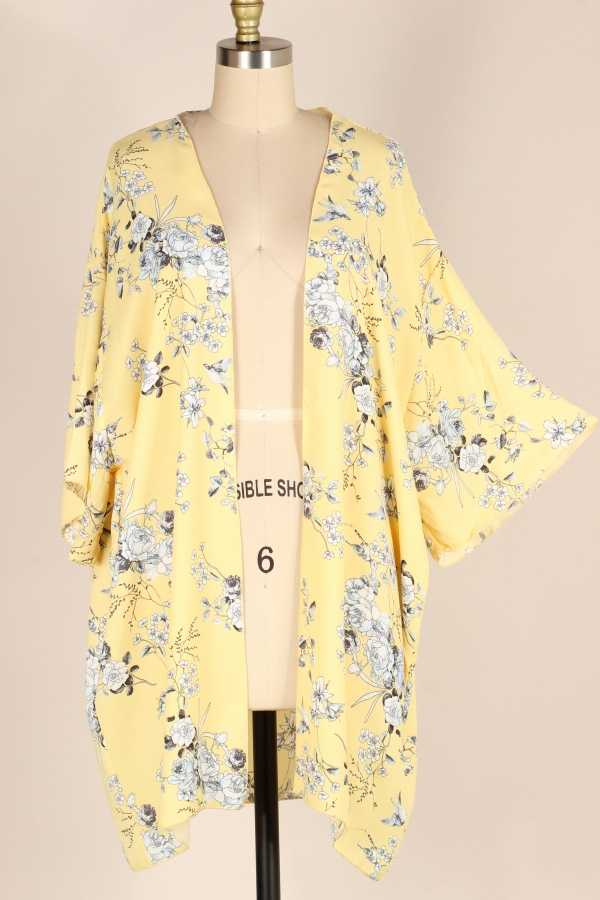 EXTRA PLUS-WIDE SLEEVE FLORAL WOVEN CARDIGAN