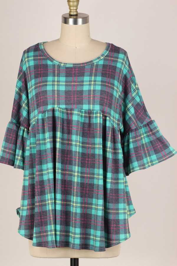RUFFLE SLEEVE PLAID TUNIC TOP