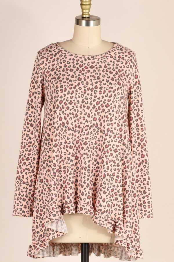 PLUS SIZE-RUFFLE HEM LEOPARD TUNIC TOP