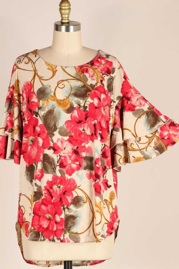 PLUS SIZE-WIDE DOUBLE RUFFLE SLEEVE FLORAL TUNIC TOP