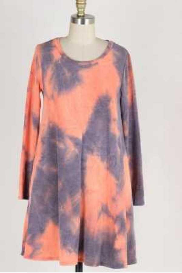 LONG SLEEVE TIE DYE PRINT KNIT DRESS WITH POCKETS