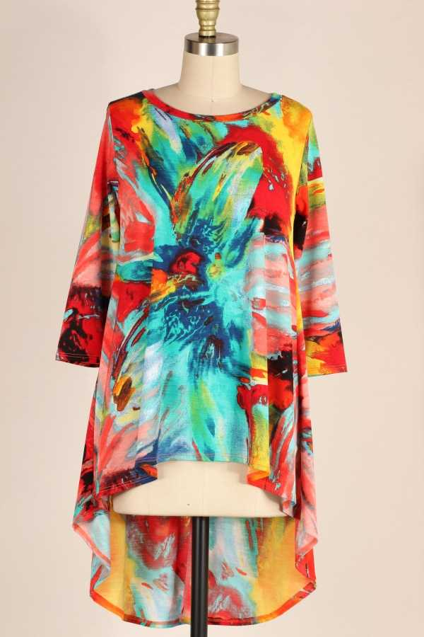 PLUS SIZE-HI LOW HEM PRINT TUNIC TOP