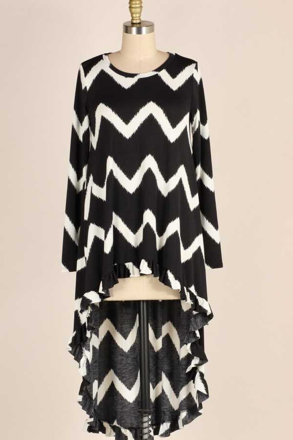 PLUS SIZE-RUFFLE HEM DETAIL CHEVRON TUNIC TOP