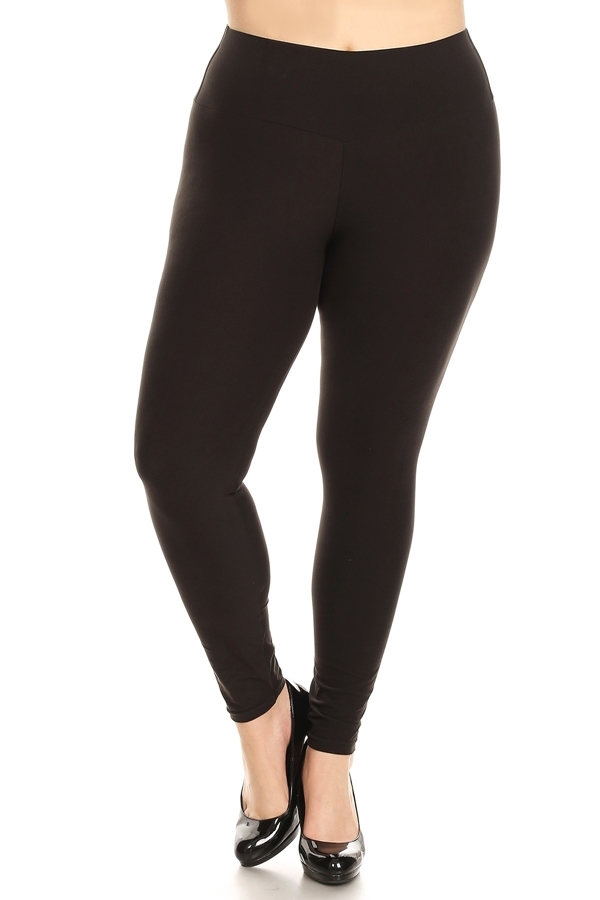 PLUS SIZE HIGH WAIST SOLID LEGGINGS