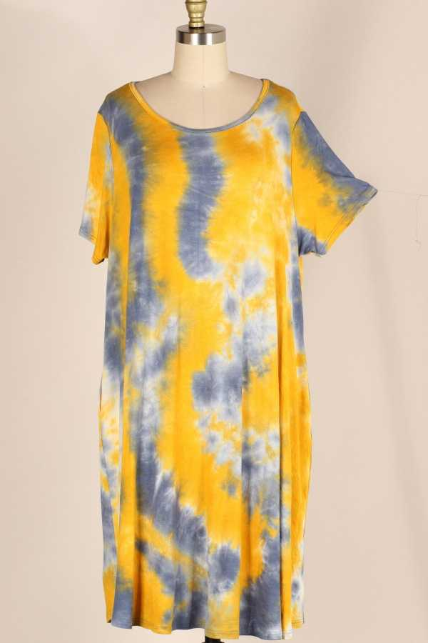 PLUS SIZE TIE DYE PRINT DRESS WITH POCKETS
